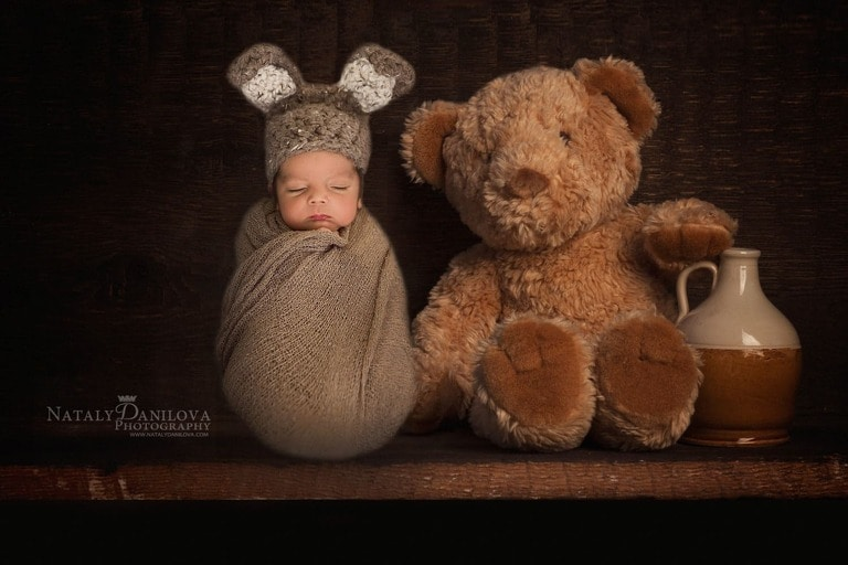 newborn baby in a bunny hat, Newborn photographer DC