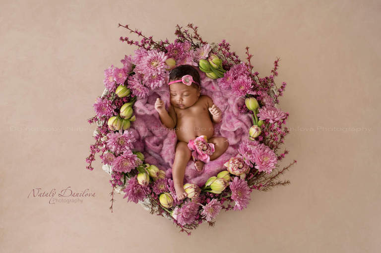 newborn girl in a pink flower nest