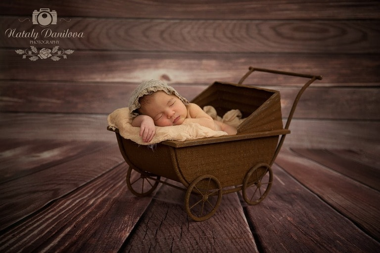 baby girl in a vintage stroller, Baby photographer DC